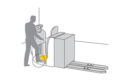 Safety mat in pallet truck for deactivation when leaving unplanned - BBC Bircher Smart Access