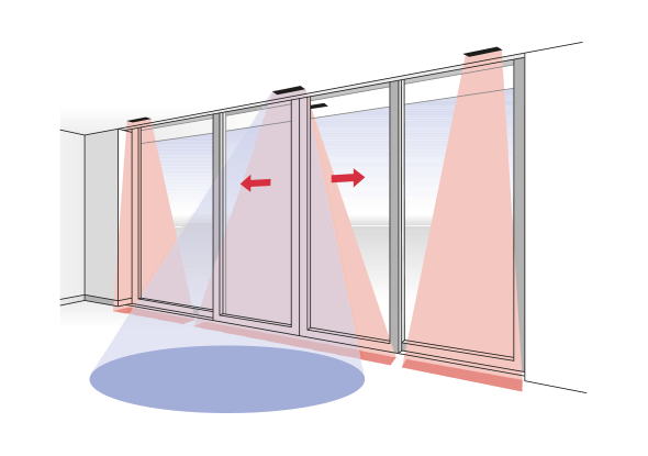 Detection field protecting sliding doors - BBC Bircher smart access