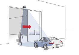 Activation of sliding gates for people and vehicles - Herkules 2E microwave motion detector - BBC Bircher Smart Access