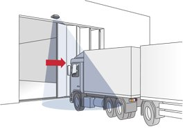 Delivery at folding door with truck - Herkules 2E microwave motion detector - BBC Bircher Smart Access