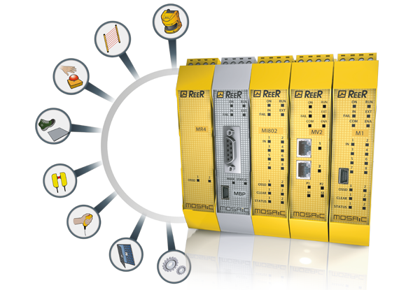 Configurable safety PLC ReeR Mosaic